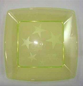Prato Acrilico 15x15cm Square Amarelo c/ 10