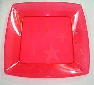 Prato Acrilico 21x21cm Square Vermelho c/10
