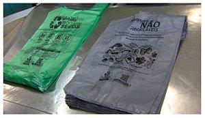 Sacola Biodegradável 48x55 Cinza 500 unids