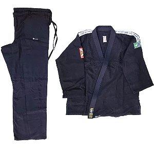 Kimono Adulto de Jiu Jitsu AX Esportes Trançado Preto