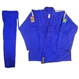 Kimono Adulto de Jiu Jitsu AX Esportes Trançado Azul