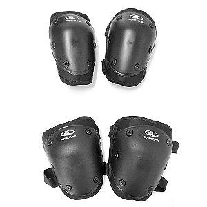 Kit Proteção Skate/Patins com Joelheira e Cotoveleira Adulto
