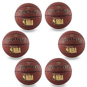 Pack c/ 6 Bolas Spalding De Basquete Microfibra NBA Tam. 6