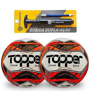Kit 2 Bolas de Futsal Topper Slick e 1 Bomba