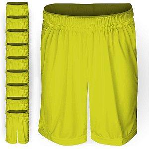 Pack 10 Calções AX Esportes Poliéster Liso Amarelo