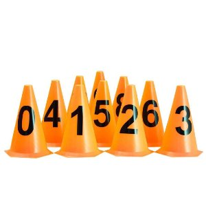 10 Cones NUMERADOS 24cm p/ Treinamento AX Esportes Laranja
