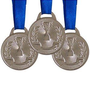 Pack c/ 10 Medalhas AX Esportes 30mm H. Mérito Prata-FA465