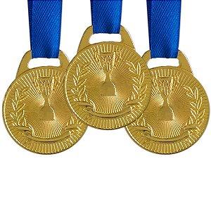 Pack c/ 10 Medalhas AX Esportes 30mm H. Mérito Ouro-FA465
