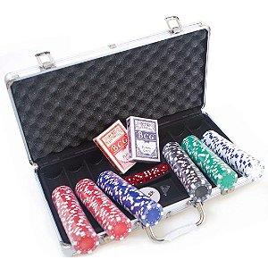 Maleta de Poker AX Esportes 300 Fichas 2 Baralhos e Dados-Y342