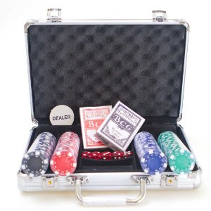 Maleta de Poker AX Esportes 200 Fichas 2 Baralhos e Dados-Y341