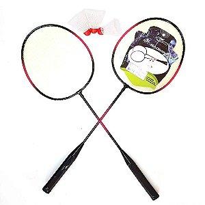 Kit Badminton AX Esportes com 2 Raquetes e 3 Petecas - FA502