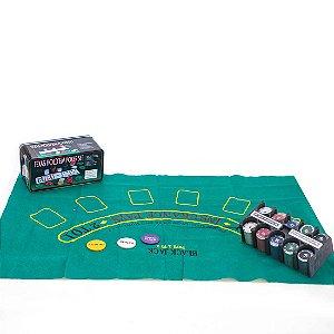 Jogo de Poker AX Esportes Texas 200 Fichas 2 Baralhos Toalha e Dados-Y345