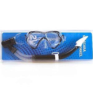 Kit Mergulho Ax Esportes c/ Máscara e Snorkel Preto FA521