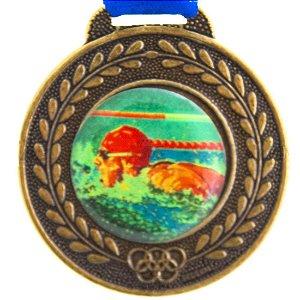 Medalha Resinada Redonda Natação 42mm Bronzeada (Contém 02 unids.)