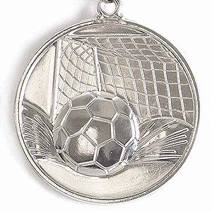 Medalha Gigante AX Esportes 64mm Futebol em Alto Relevo 3D Prateada - FA489 (Pç)