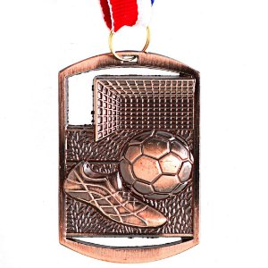 Medalha AX Esportes Futebol Retangular 40x60 Bronzeada - FA469 (Pç)