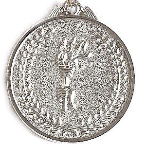 Medalha AX Esportes 64mm Honra ao Mérito Alto Relevo Prateada - FA485