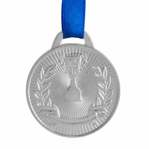 Medalha AX Esportes 41mm Honra ao Mérito Prateada FA467 Pç
