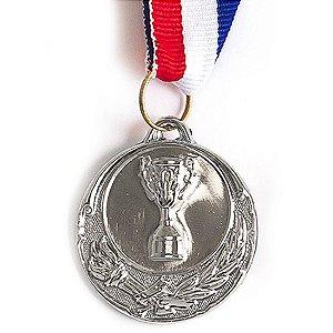 Medalha AX Esportes 40mm Honra ao Mérito Alto Relevo Prateada Dupla-Face - FA471 (Pç)