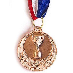 Medalha AX Esportes 40mm Honra ao Mérito Alto Relevo Bronzeada Dupla-Face - FA471 (Pç)