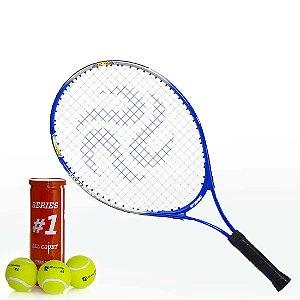 Kit c/ 1 Raquete de Tênis e 3 Bolas Premium AX Esportes