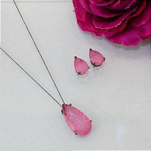 Conjunto ródio black design gota cristal rosa fusion