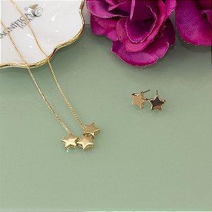 Conjunto de brinco e colar estrelas dourado