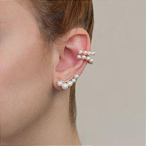 Brinco ear cuff  dourado com perolas e cravação em zircônia