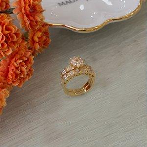 Duo de anel  cravejado com zircônias e navetes cristais