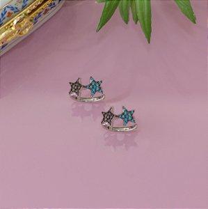 Piercing fake rodio branco com estrelas coloridas cravejadas