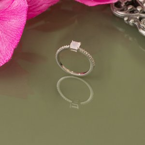 Anel ródio branco com cristal quartzo rosa  (19)