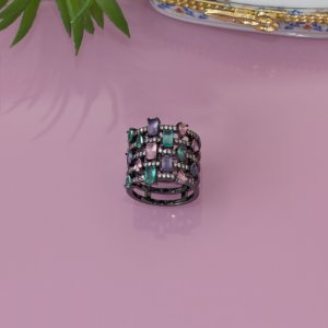 Anel ródio negro com cristais coloridos