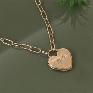 """Colar elos dourado com pingente de coração """" Love """""""