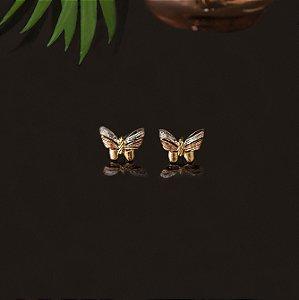 Brinco ouro três tons borboleta