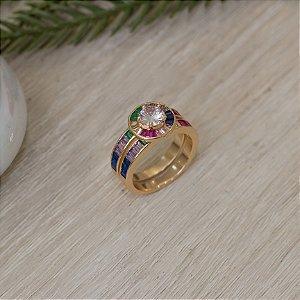 Duo de anéis dourado com cristais coloridos