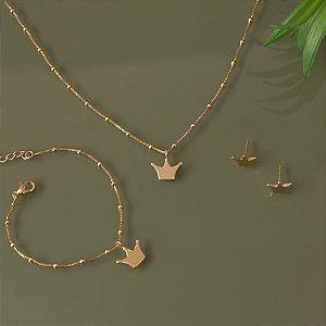 Conjunto brinco, pulseira e colar infantil de coroa