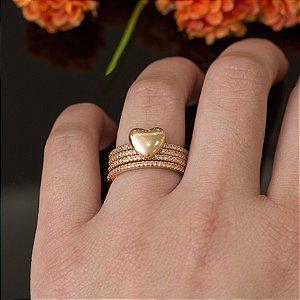 Mix de anéis dourado coração
