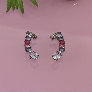 Brinco ear cuff ródio negro com cristais coloridos