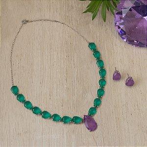 Conjunto cristal quartzo verde e lavanda fusion
