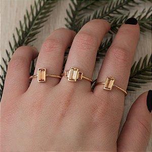 Trio de anéis com cristal morganita