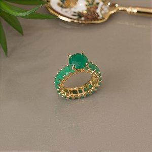 Anel solitário com cristal quartzo verde