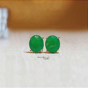 Brinco dourado com cristal verde esmeralda