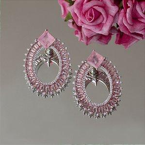 Brinco luxo em ródio branco com cristal quartzo rosa fusion e navetes