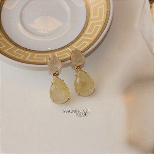 Brinco gota dourado quartzo rutilado