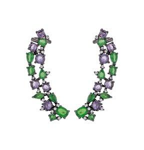 Brinco ear cuff em ródio negro cravejado com cristais verdes e ametista