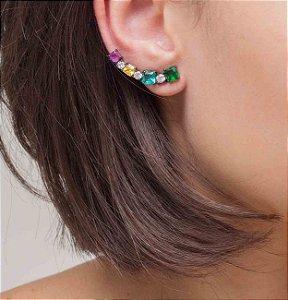 Brinco ear cuff em ródio negro com cristais coloridos