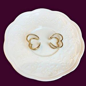 Piercing clips duo de coração dourado