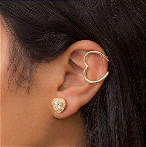 Piercing clips de coração dourado