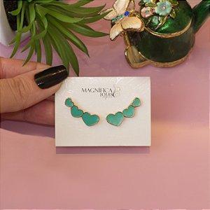 Ear cuff  coração verde esmaltado