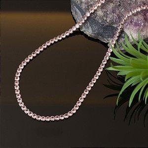 Choker riviera cristais rosa